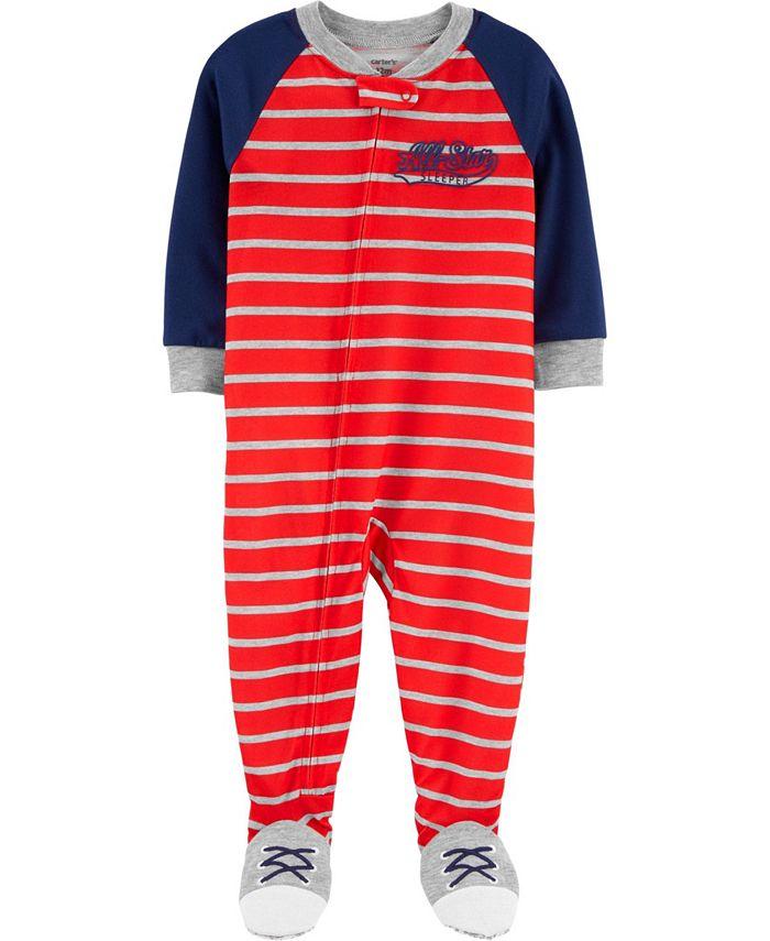 Carter's - Carters Baby Boy 1-Piece Striped Varsity Poly Footie PJs