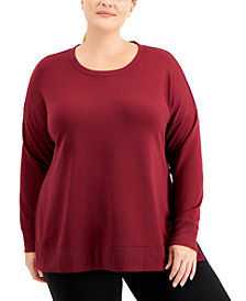 Ideology Plus Size Solid Sweatshirt, Created for Macy's