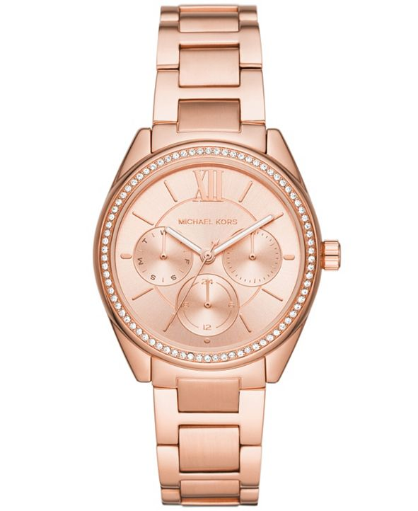 Michael Kors Women's Janelle Multifunction Rose Gold-Tone Stainless Steel Bracelet Watch 36mm