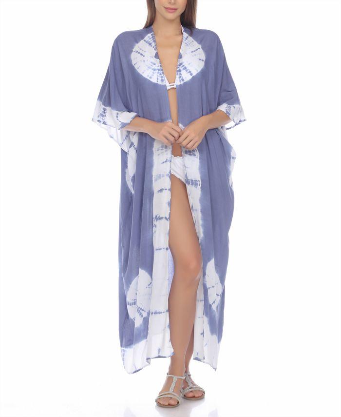 Raviya - Tie-Dyed Kimono Maxi  Cover-Up