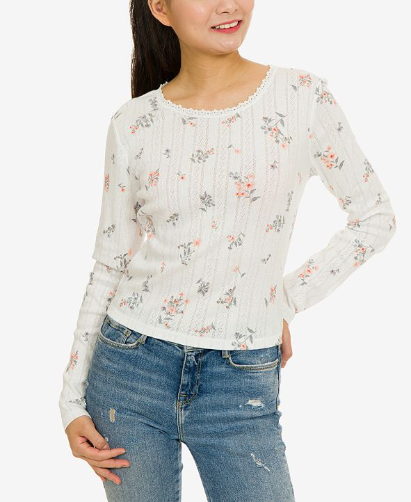 Hippie Rose Juniors' Floral Pointelle-Knit Top