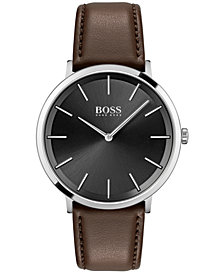 BOSS Men's Skyliner Brown Leather Strap Watch 40mm