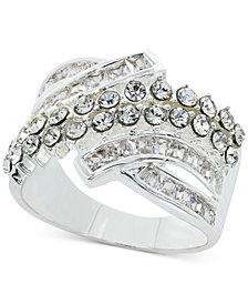 Charter Club Fine Silver Plate Crystal Wrap Ring, Created for Macy's