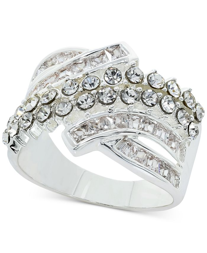 Charter Club - Fine Silver Plate Crystal Wrap Ring