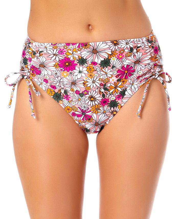 California Waves - Juniors' Floral-Print Hipster Bikini Bottoms
