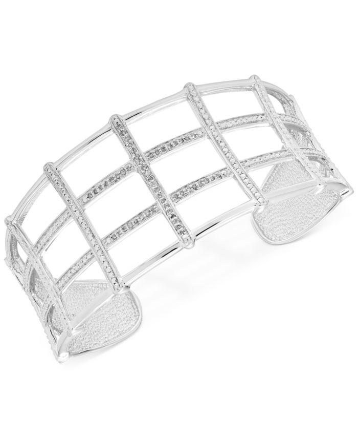 Macy's Diamond Openwork Cuff Bangle Bracelet (1/4 ct. t.w.) in Sterling Silver & Reviews - Bracelets - Jewelry & Watches - Macy's