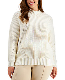 Alfani Plus Size Pointelle Sweater, Created for Macy's