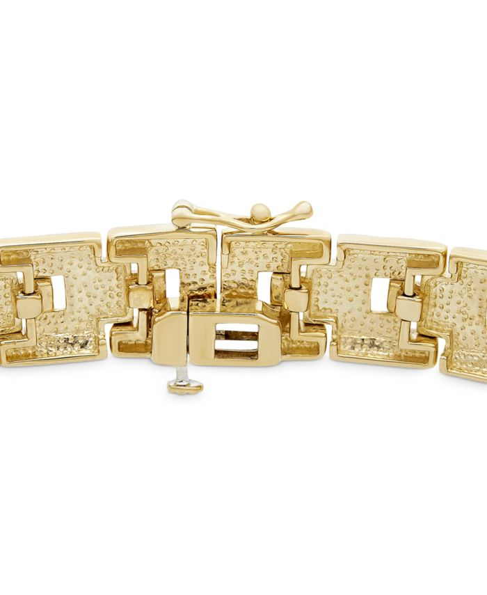 Macy's Men's Diamond Pavé Plate Link Bracelet (1 ct. t.w.) in 14k Gold-Plated Sterling Silver & Reviews - Bracelets - Jewelry & Watches - Macy's