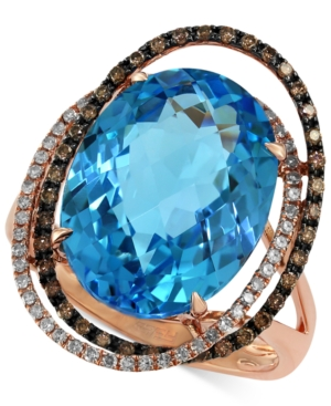 Bleu Rose by Effy Blue Topaz (12-1/6 ct. t.w.) and Brown Diamond (1/3 ct. t.w.) Orbit Ring in 14k Rose Gold