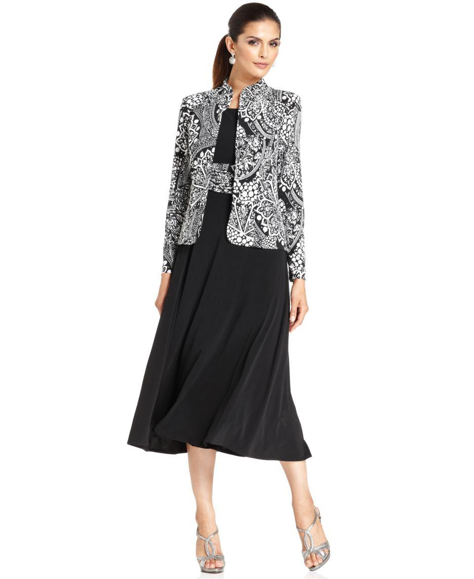 Jessica Howard Petite Dress and Jacket, Sleeveless Jewel Waist Tiered   Dresses   Women