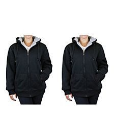 Galaxy by Harvic Women's Loose Fit Sherpa Lined Fleece Zip-up Hoodie - 2 Pack