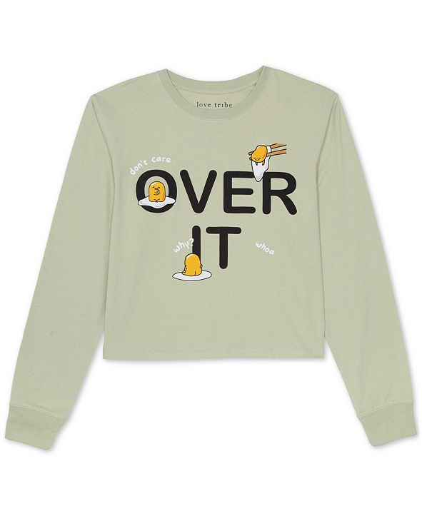 Love Tribe Juniors' Over It Long-Sleeved Graphic T-Shirt
