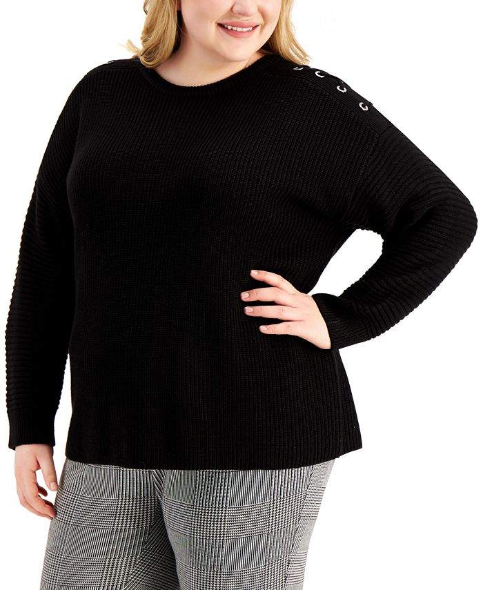 Calvin Klein - Plus Size Lace-Up-Trim Sweater