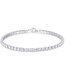 Cubic Zirconia Tennis Bracelet in Fine Silver Plate