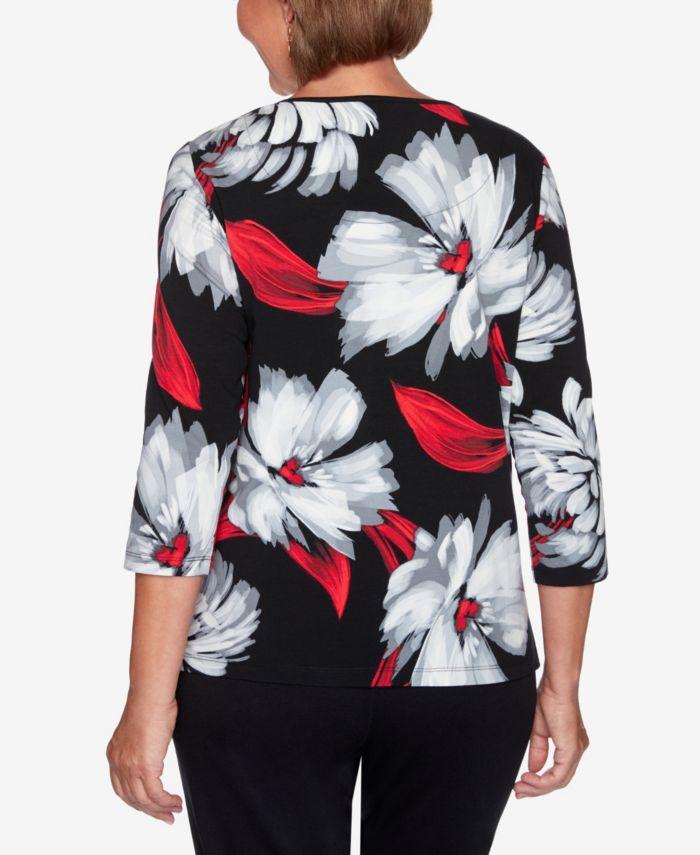 Alfred Dunner Women's Missy Knightsbridge Station Brushstroke Floral Knit Top & Reviews - Tops - Women - Macy's