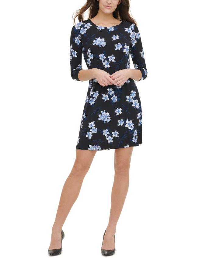 Tommy Hilfiger Floral-Print Jersey A-Line Dress   & Reviews - Dresses - Women - Macy's