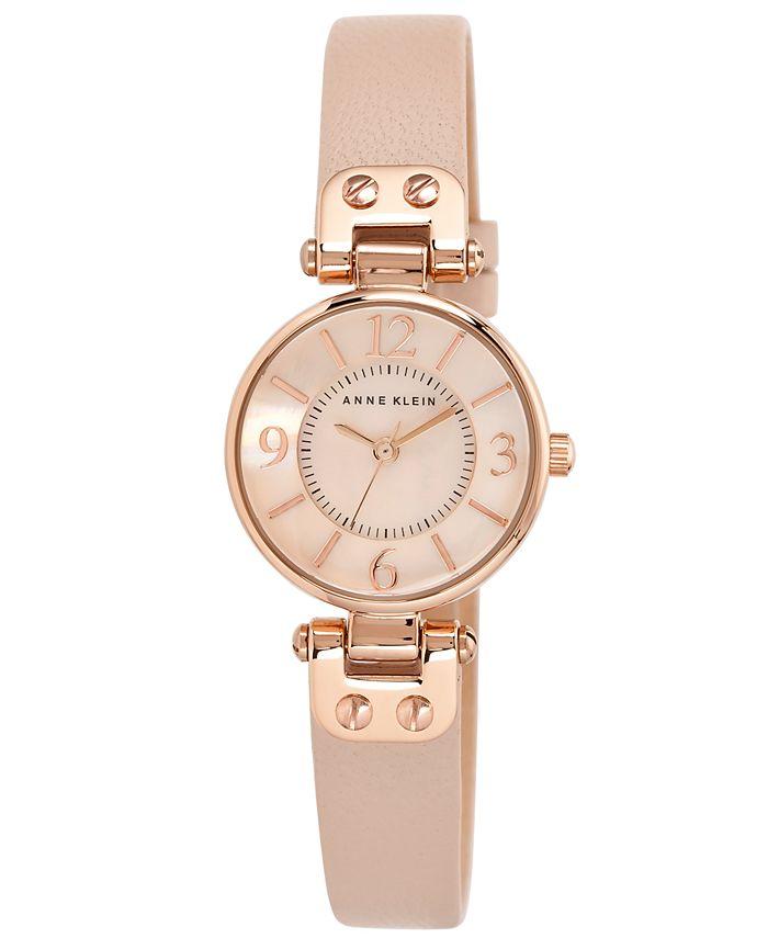 Anne Klein - Women's Blush Leather Strap Watch 26mm 10-9442 RGLP