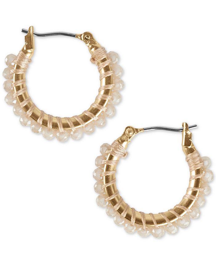"Lucky Brand - Gold-Tone Small Beaded Hoop Earrings, 0.75"""