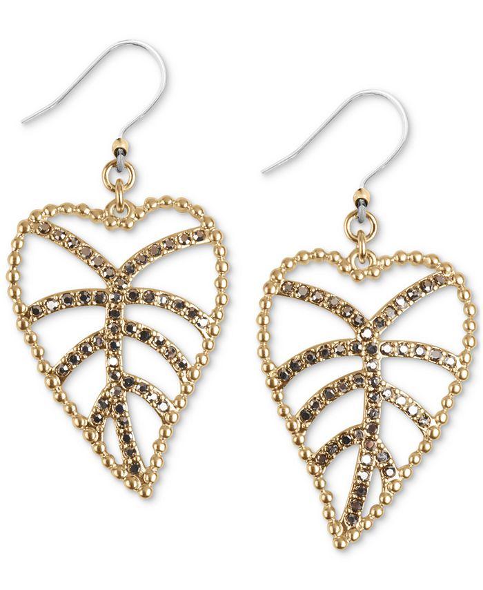 Lucky Brand - Gold-Tone Delicate Pavé Open Leaf Drop Earrings