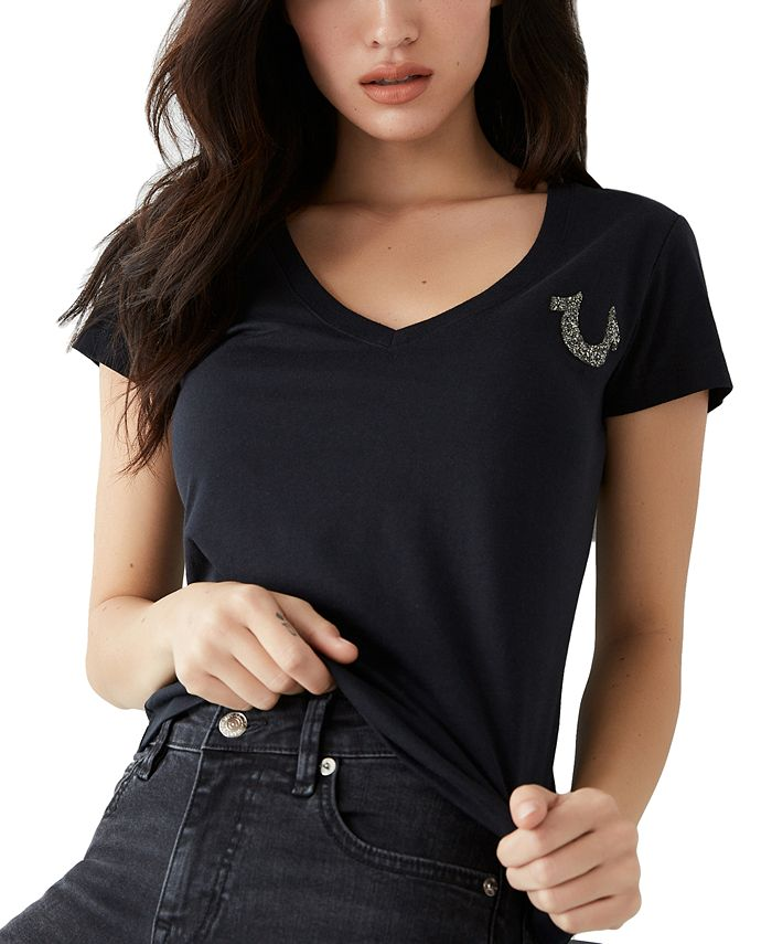 True Religion - Cotton Embellished V-Neck T-Shirt