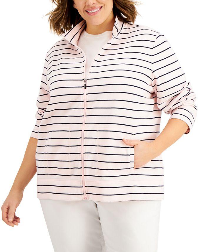 Karen Scott - Plus Size Striped Zippered Sweatshirt