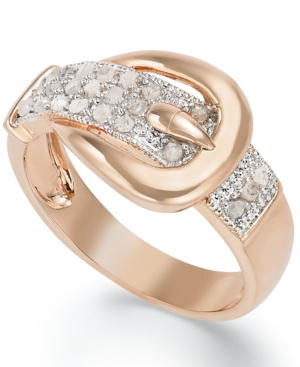 Victoria Townsend 18k Rose Gold over Sterling Silver Diamond Buckle Ring (1/4 ct. t.w.)