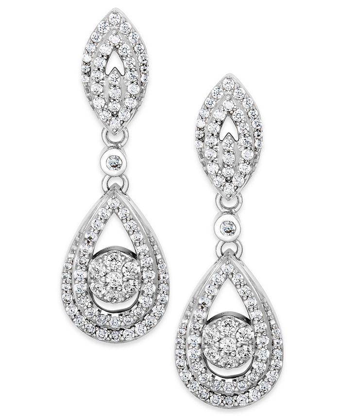 Wrapped in Love - Diamond Dangling Drop Earrings in 14k White Gold (1 ct. t.w.)
