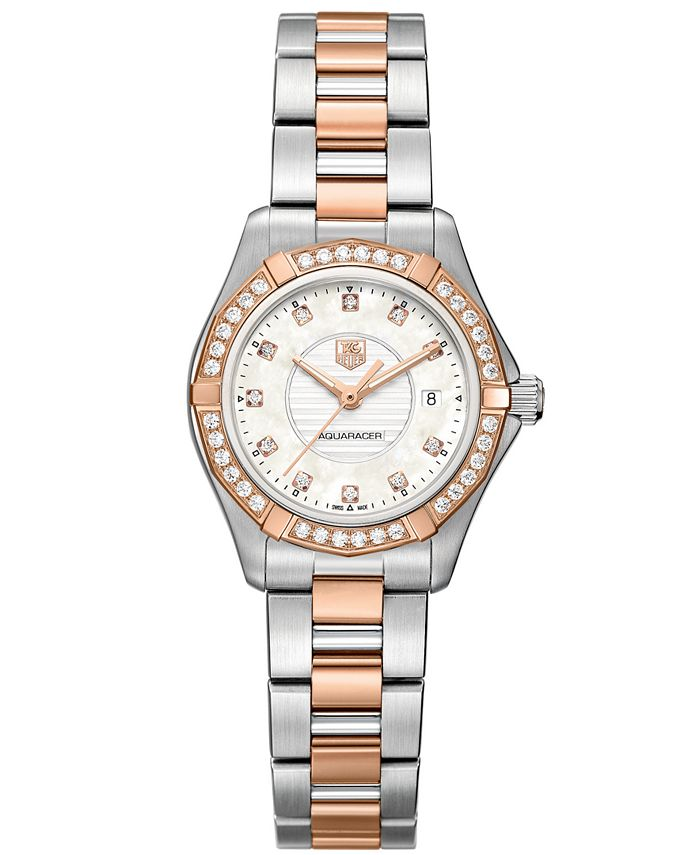 TAG Heuer - Women's Swiss Aquaracer Lady Diamond (2/5 ct. t.w.) Two-Tone Stainless Steel Bracelet Watch 27mm WAP1452.BD0837