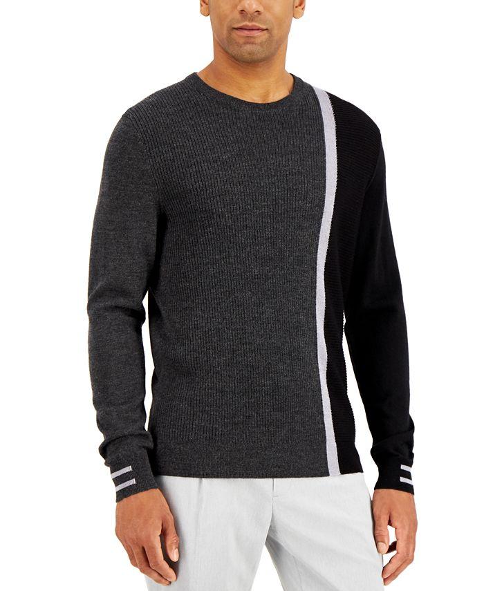 Alfani - Men's Striped Textured Crewneck  Sweater