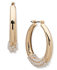Anne Klein Pearl Hoop Earrings 1.2""