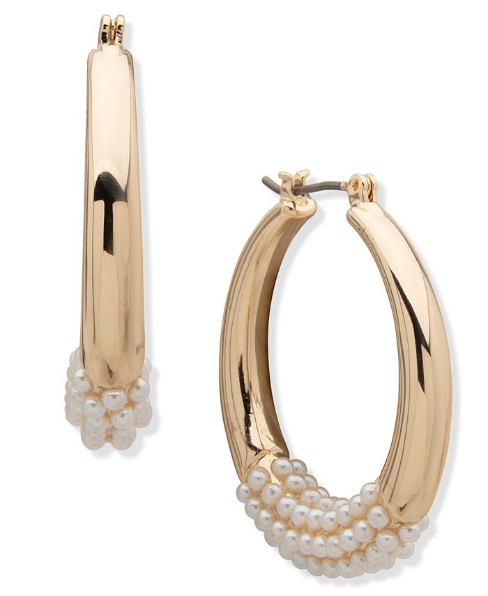 Anne Klein - Pearl Hoop Earrings 1.2""