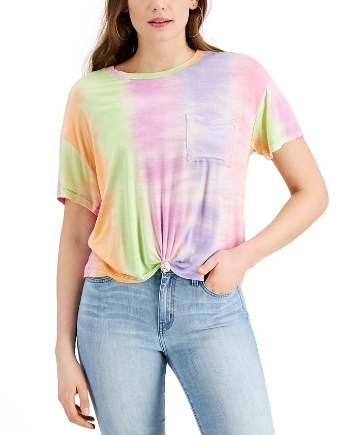 Self Esteem - Juniors' Tie-Dyed Front-Knot T-Shirt