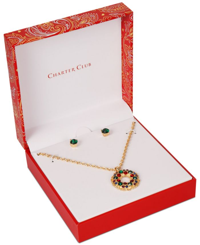 Charter Club Gold-Tone Crystal Wreath Pendant Necklace & Stud Earrings Set, Created for Macy's & Reviews - Fashion Jewelry - Jewelry & Watches - Macy's