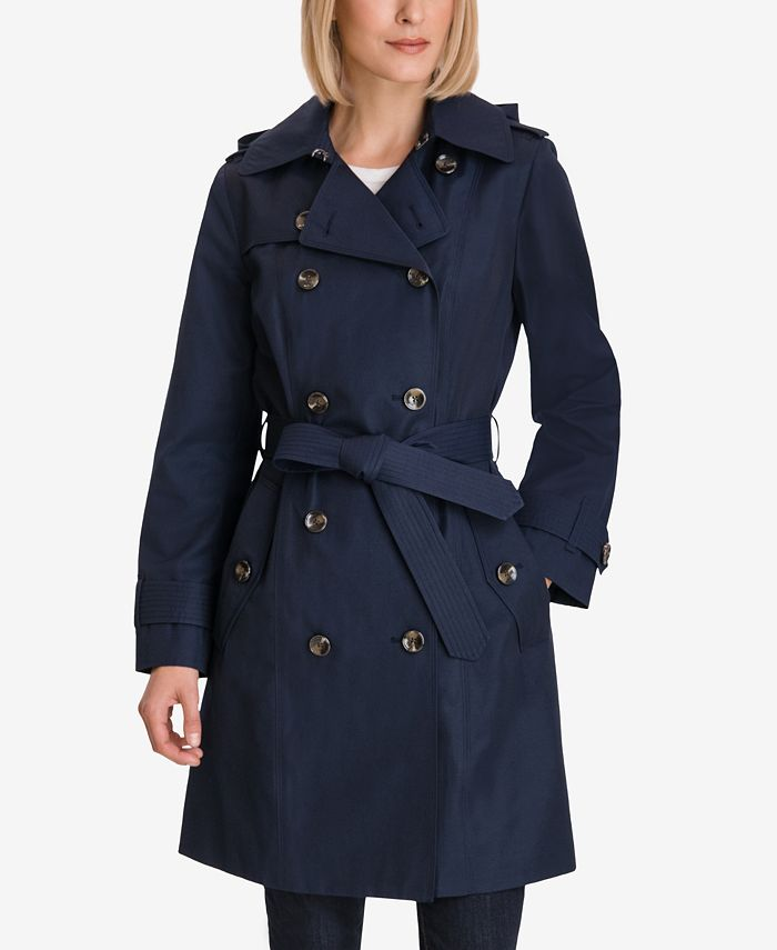 London Fog - Hooded Double-Breasted Trench Coat