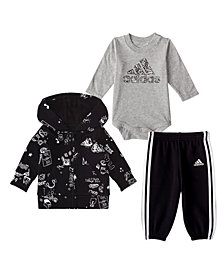 adidas Baby Boys 3 Piece Fleece Jacket, Bodyshirt and Jogger Pants Set