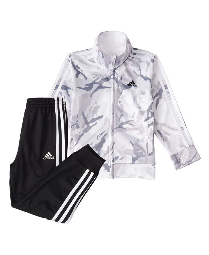adidas - Baby Boys Zip Front Camo Tricot Jacket and Jogger Pants Set