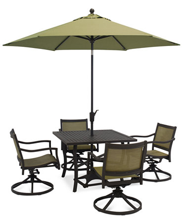 Lexford 5 piece aluminum patio set 40 table and 4 swivel for Metal patio table and 4 chairs