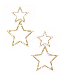 Double Star Crystal Gold Plated Statement Earrings