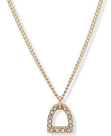 """Lauren Ralph Lauren Gold-Tone Pavé Stirrup Pendant Necklace, 16"""" + 3"""" extender"""