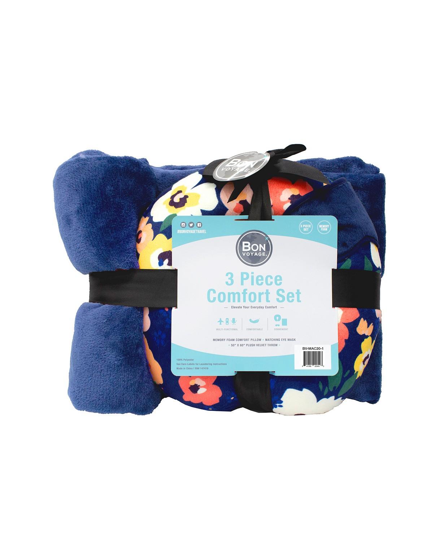 3-PC Travel Pillow, Blanket, Eye Mask Comfort Kit $$9.99 (75% off)