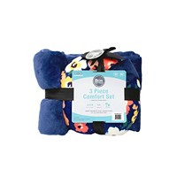 3-Piece Bon Voyage Travel Pillow Blanket Eye Mask Comfort Kit