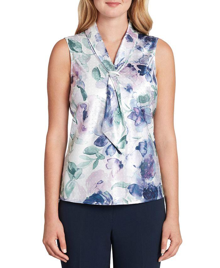 Tahari ASL - Sleeveless Printed Tie-Neck Top