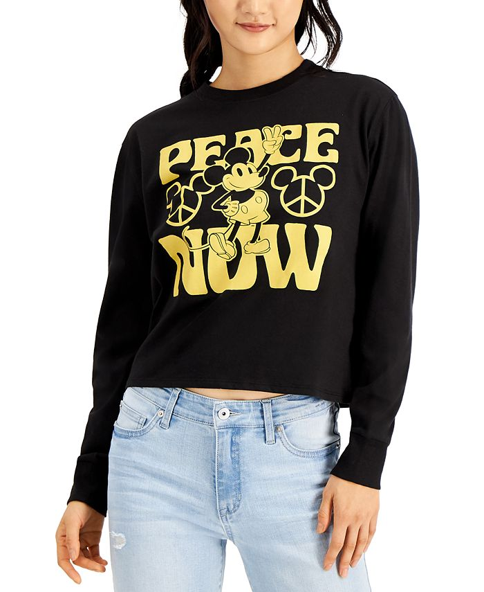 Mad Engine - Juniors Disney Mickey Mouse Peace Long Sleeve Top