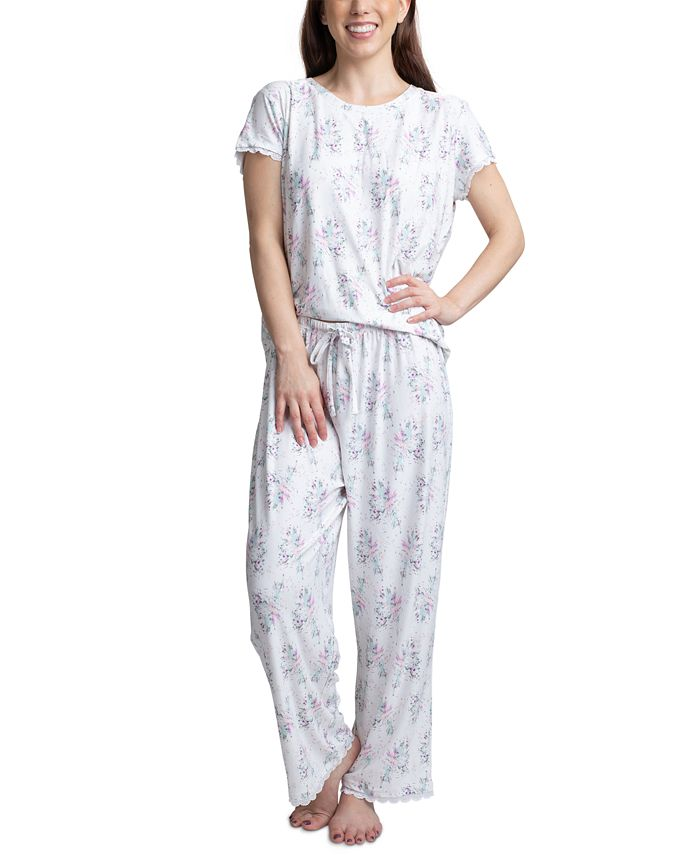 Muk Luks - Lace-Trim Printed Pajamas Set
