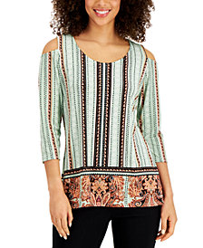 JM Collection Mixed-Print Cold-Shoulder Crepe Top, Created for Macy's