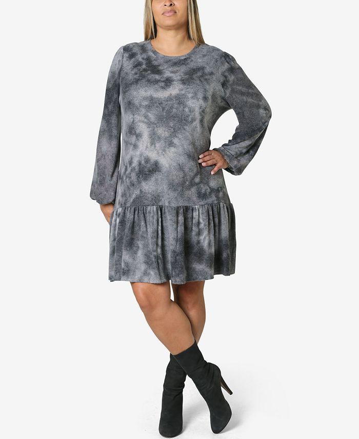 Ultra Flirt - Trendy Plus Size Tie-Dyed Dress