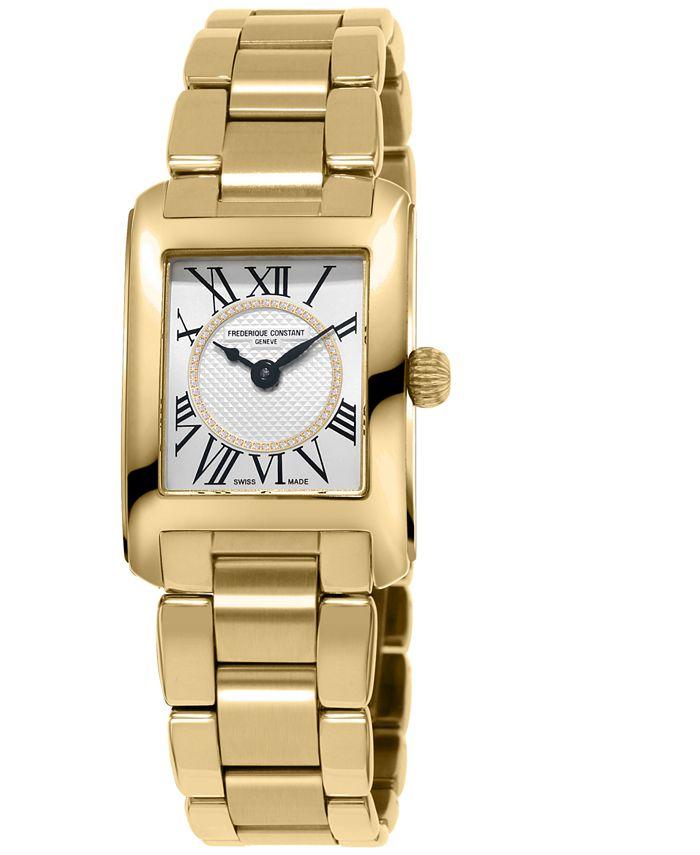 Frederique Constant - Women's Swiss Classic Carree Diamond (1/20 ct. t.w.) Gold-Tone Stainless Steel Bracelet Watch 23mm
