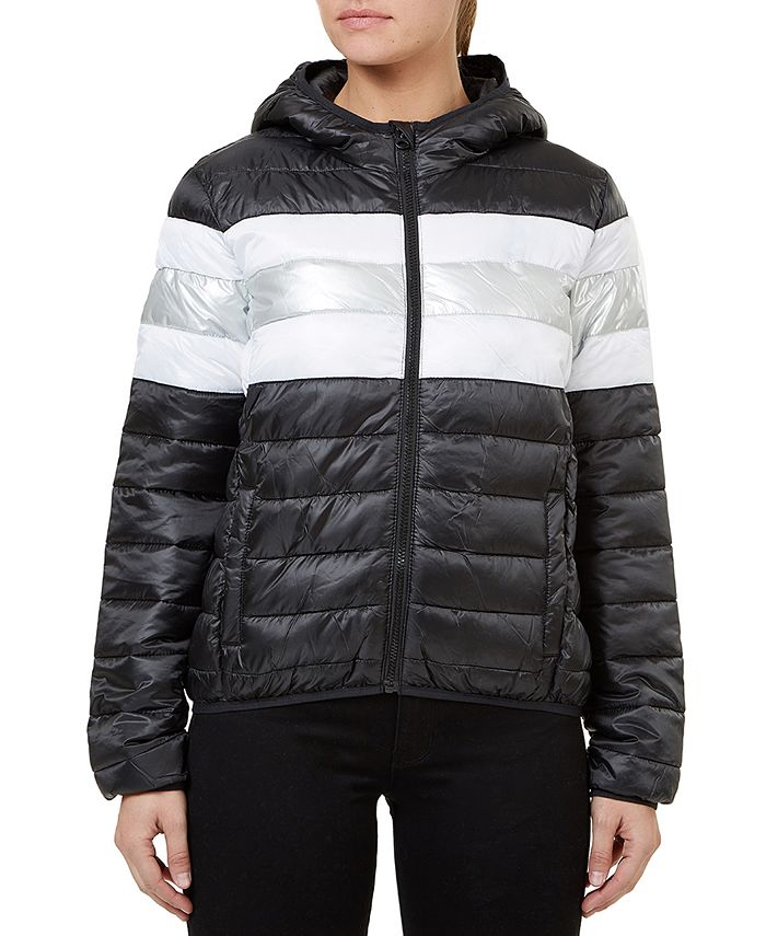 Numero - Quilted Hooded Metallic-Stripe Packable Jacket