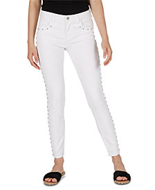Numero Mid-Rise Studded Cropped Skinny Jeans