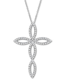 "Diamond Cross 20"" Pendant Necklace (1/2 ct. t.w.) in 14k White Gold"